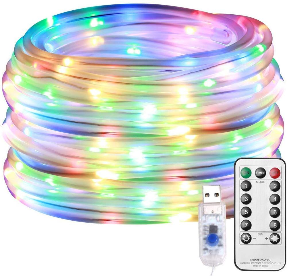 LED Rope Lights 8 Modes Dimmable String Lights, USB 5V Waterproof Fairy Lights, for Outdoor Garden Christmas Tree Wedding Decor
