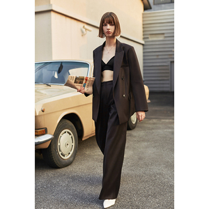 Image 3 - [EAM]  Women Brief Double Breasted Big Size Blazer New Lapel Long Sleeve Loose Fit  Jacket Fashion Tide Spring Autumn 2020 1H837