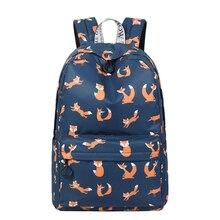 Cute Animal Fox Printing School Backpacks Waterproof Women Bag Laptop Backpack Female Mochila Bolsas E Sacolas
