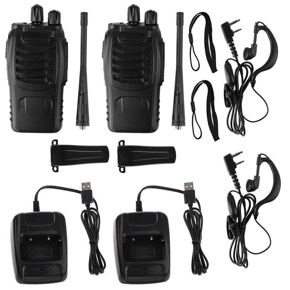 USB Charging  Baofeng BF-888S UHF 400-470 MHz 2-Way Radio Twee  16CH Walkie Talkie With Mic FM Transceiver