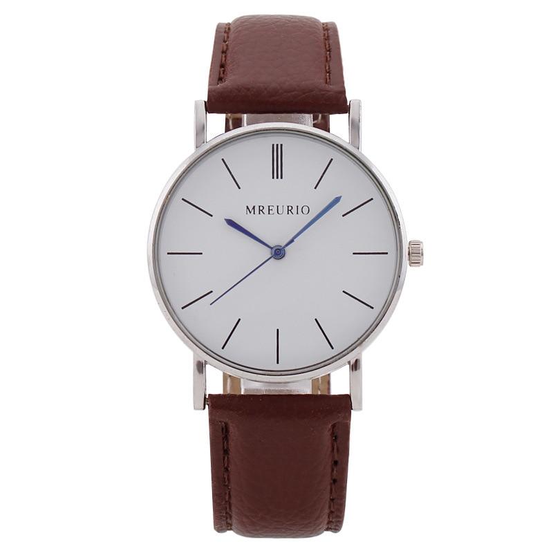 Men Quartz Watch Fashion Featured Watch Quartz Lovers Watch Leather Belt Men's Black White Red Brown Belt Men Gift