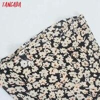 Tangada 2021 Women Flowers Print French Style Long Dress Flare Sleeve Ladies Dress 3H131 5