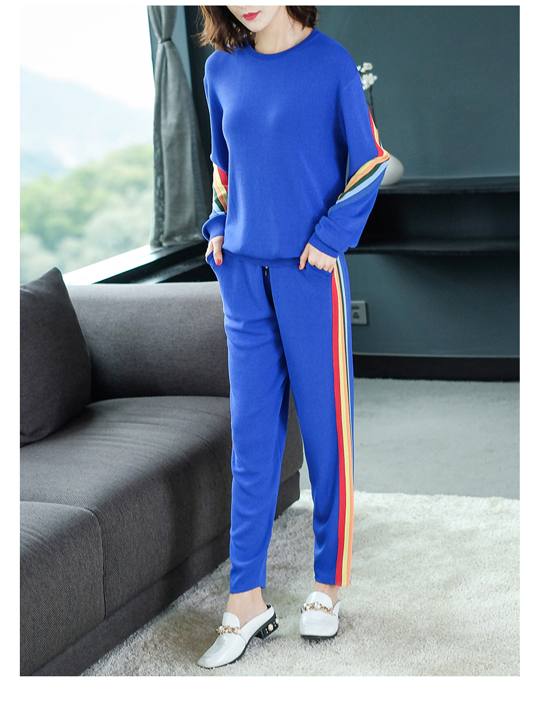 2019 Autumn Knitted Casual Striped Two Piece Sets Outfits Women Sweater And Pants Suits Fashion Elegant Korean Tracksuit Sets 38
