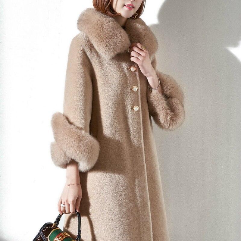 Natural Wool Jacket Women Sheep Shearing Fur Coats Female Parka Real Fox Fur Collar Overcoat Spring Clothes 2020 LWL1382