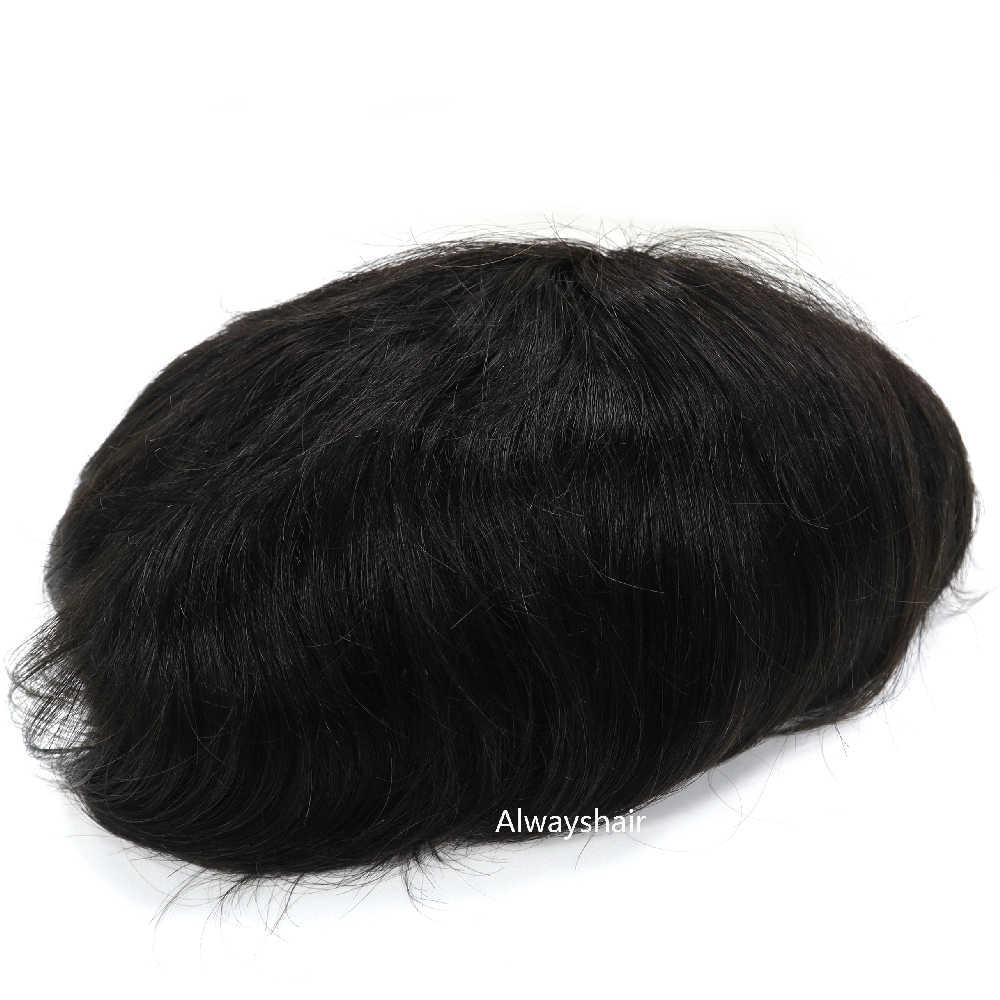 Australia 1B hombres tupé 6 pulgadas indio Unidad de cabello humano para hombres 130% densidad del cabello prótesis