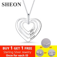 SHEON 925 Sterling Silver Custom Mom Jewelry Women Family Three Hearts White Gold Color Necklace For Lover & Family Gift