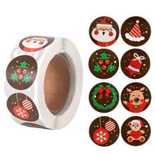 500 sztuk boże narodzenie słodycze torba naklejki uszczelniające wystrój świąteczny dla domu 2020 ozdoby świąteczne prezenty bożonarodzeniowe nowy rok 2021 tanie tanio FENGRISE CN (pochodzenie) XS0074 Bez pudełka Tak ( 50 sztuk)