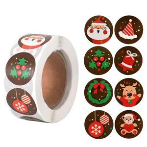 500pcs Christmas Candy Bag Sealing Stickers Merry Christmas Decor for Home 2020 Christmas Ornaments Xmas Gifts New Year 2021