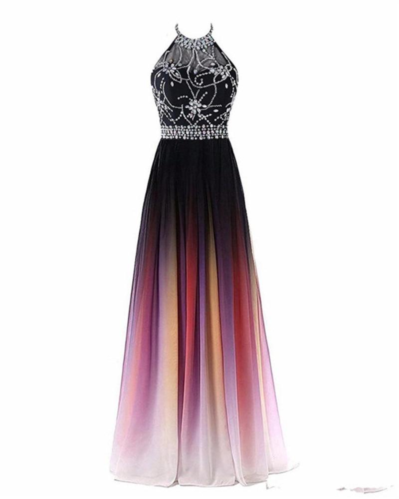 Multi Color A Line Beading Halter Neck Evening Dresses Formal Dresses Floor Length  Lace Up Back