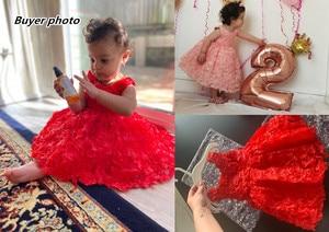 Image 3 - Kız elbise vaftiz elbise bebek pembe petal zarif çiçek kız düğün elbise tutu prenses bebek kız elbise