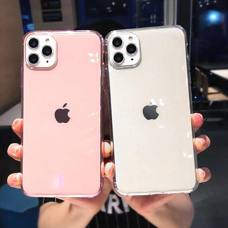 Lovecom luxo glitter transparente caso para iphone 11 pro max x xs max xr 6 s 7 8 plus cor lisa macio tpu telefone capa traseira
