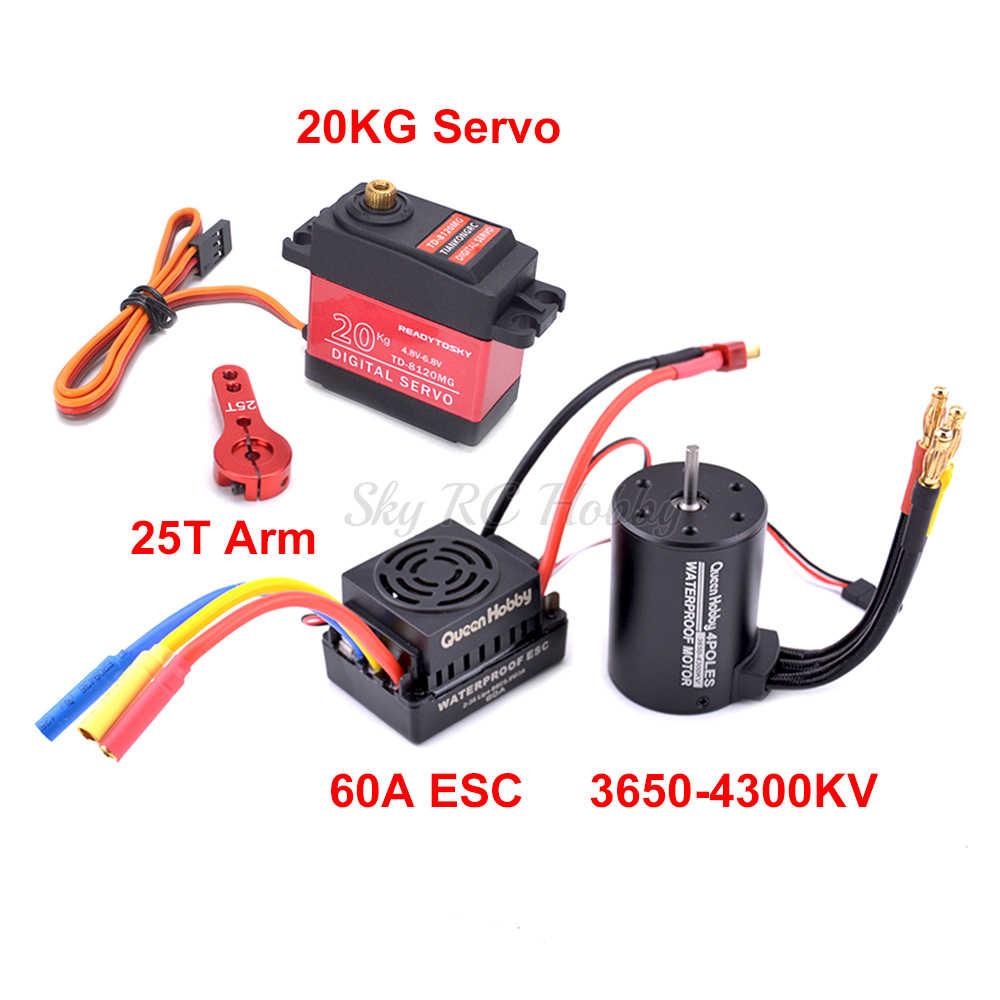 ใหม่ 60A Brushless ESC + 3650 3900KV/4300KVมอเตอร์ + 20kg Metal Gear Servo 25T ARM Comboชุดสำหรับ 1/10 1:10 RCรถรถบรรทุก
