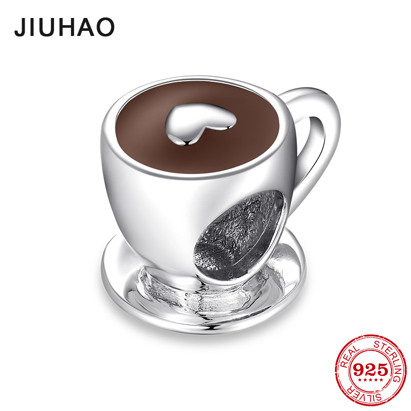 New Fashion 925 Sterling Silver Love Free Time Heart Coffee Cup Beads Fits Original Pandora Charms Bracelet Bangles DIY Jewelry