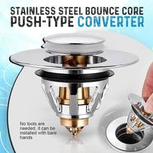 New Universal Basin Pop-up Drain Filter Stainless Steel Bounce Core Push-type Tool Build-in Strainer Basin Pop-up Drainer Tool