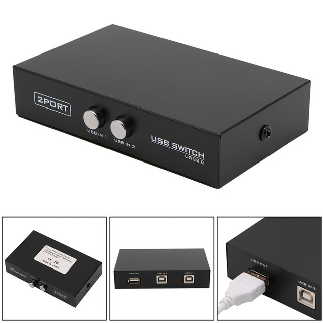 2 Ports USB2.0 Sharing Device Switch Switcher Adapter Box For PC Scanner Printer 37MC