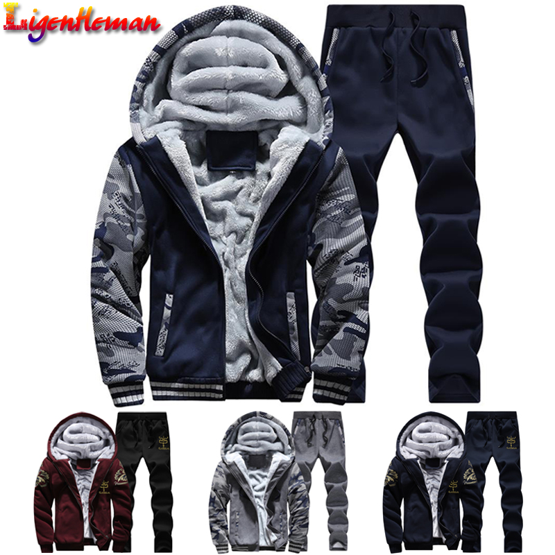 Male Warm Fur Inside Hoodie Sporting Suits Tracksuit Men Sporting Fleece Thick Hooded Suit Men Jacket+Pant Winter Sweatshirt