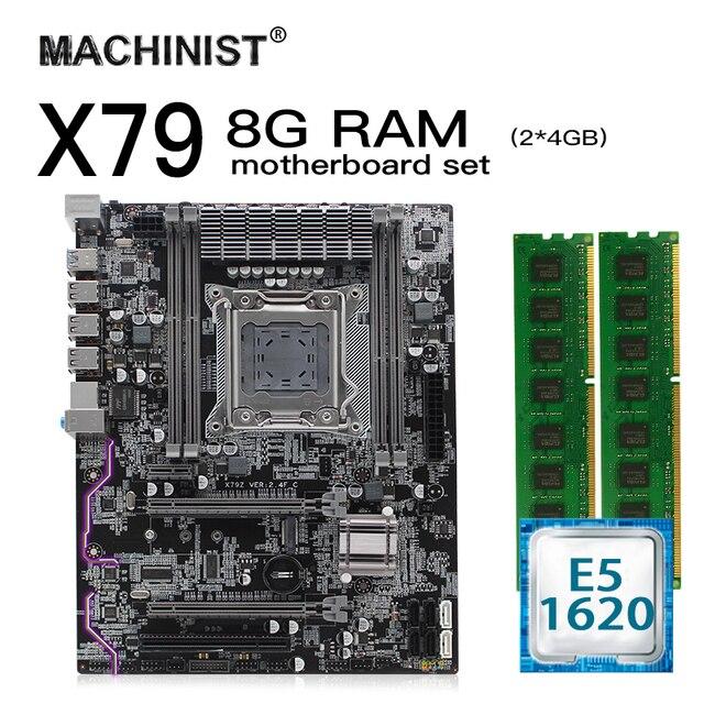 X79 lga 2011 conjunto de placa mãe kit atx com intel xeon e5 1620 cpu 8g (2*4gb) ddr3 reg ecc ram m.2 nvme ssd x79z 2.4f