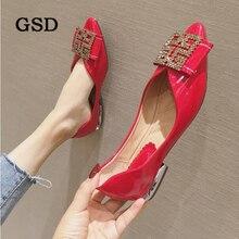 Женская обувь на плоской подошве с бантом Стразы повседневная обувь женская на весенний сезон/женские туфли-лодочки с острым закрытым носком, Туфли без каблуков женские слипоны Женская обувь