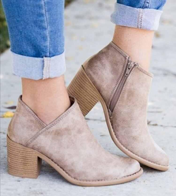 Femmes chaussures rétro mi-talon bottines 2019 Chic été femme bloc mi-talons décontracté Botas Mujer bottines Feminina grande taille 43