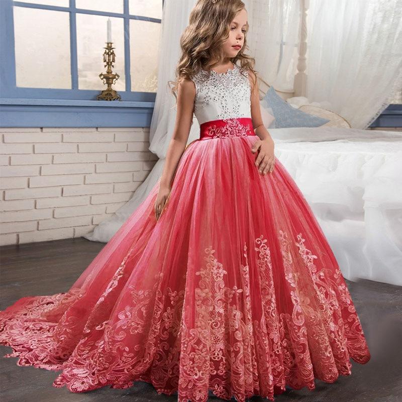 Новое кружевное свадебное платье цветок галстук-бабочка для девочки теннис вечерние банкет вечерние шоу Бальное Платье vestidos de fiesta - Цвет: red