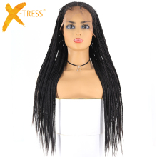 13x6 синтетические плетеные парики на кружеве, X-TRESS, длинные корнушки, косички, искусственные Локи, парик, афро-американская Женская прическа, средняя часть