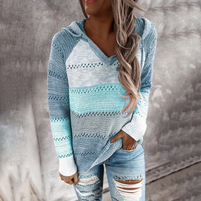 Autumn Women Patchwork Hooded Sweater Long Sleeve V-neck Knitted Sweater Casual Striped Pullover Jumpers 2020 New Female Hoodies 4