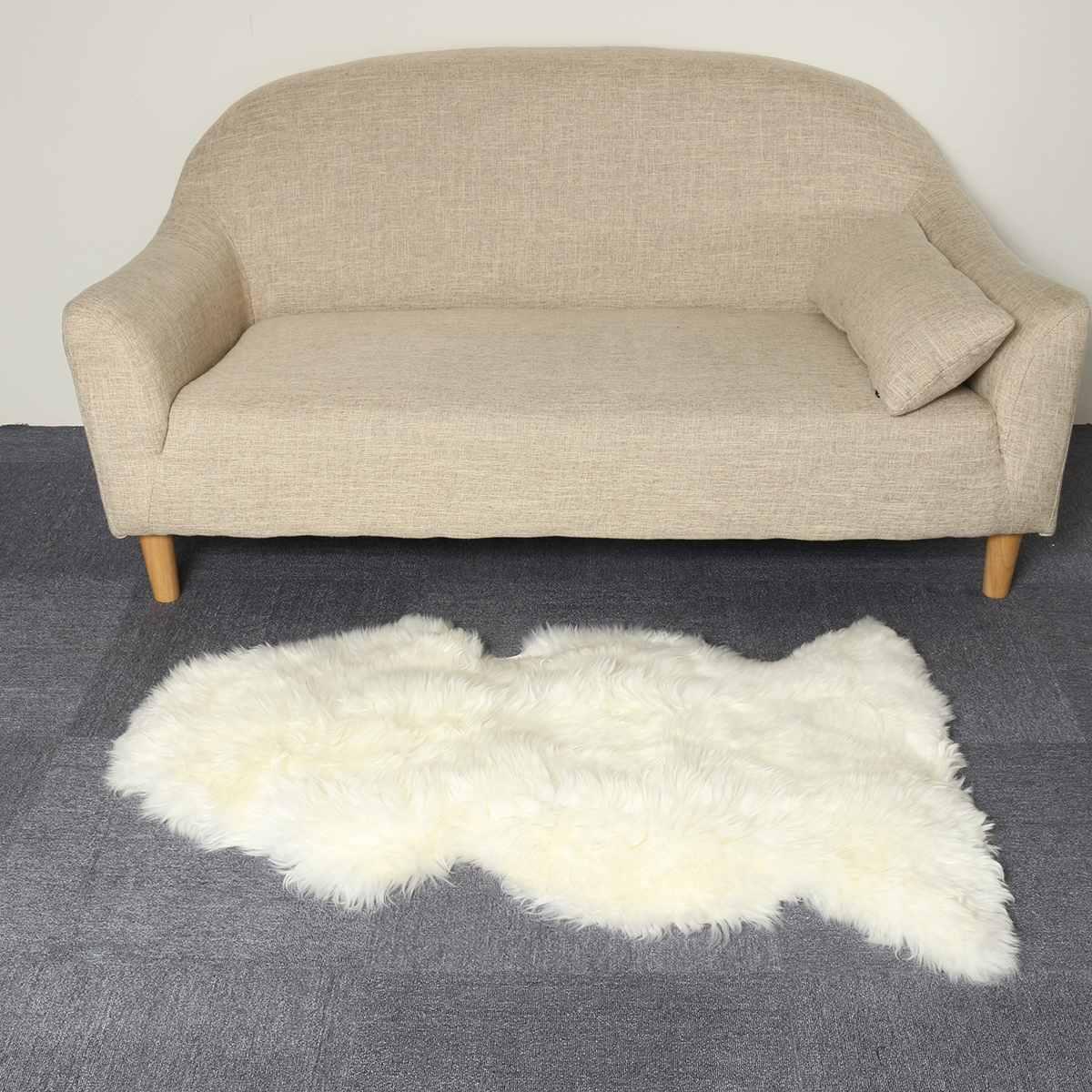 100CM en peau de mouton fausse fourrure tapis tapis pour maison chambre enfants salon chaise chaude de haute qualité antidérapant blanc en peluche tapis