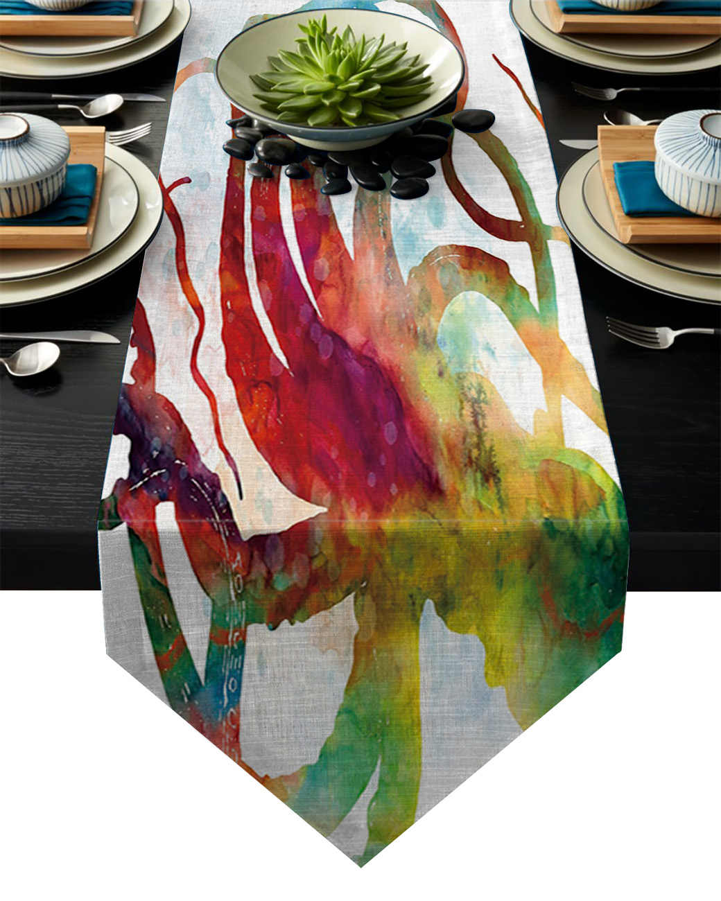 Colorful Gurita Cthulhu Taplak Meja Meja Bendera Rumah Pesta Dekorasi Taplak Meja Meja Pelari untuk Pernikahan
