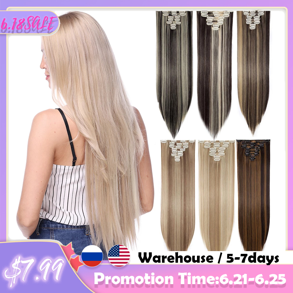S-noilite 8Pcs/set Long Straight Clip In On Hair Extensions Real Synthetic Black Brown Red Pink Purple Hairpieces For Women