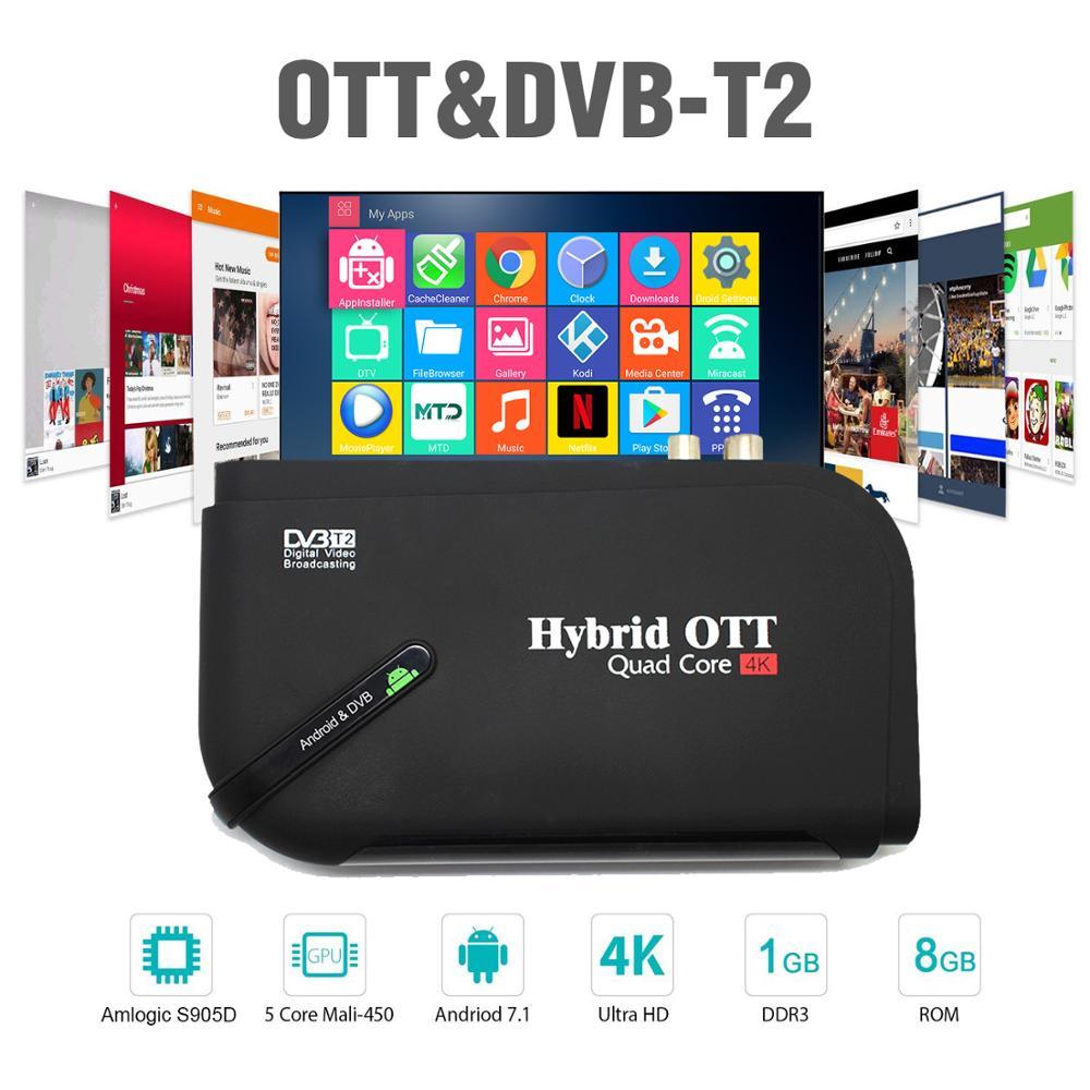 Android 7.1 DVB T2 android tv box Quad Core OTT/DVB-T2 BT4.0 H.265/MPEG-4 dvb-t2 tuner tv 4K décodeur intelligent lecteur multimédia