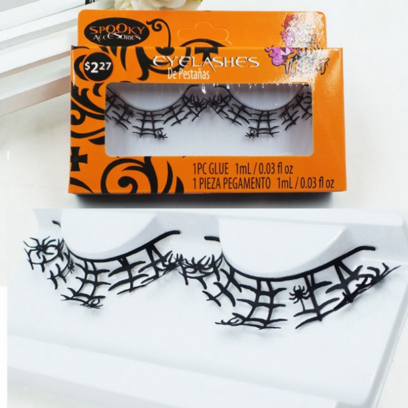 1 Pairs Handmade Makeup False Eyelashes Butterfly Bird Spider Shape Paper Cut Artistic Lashes For Costume Party Halloween