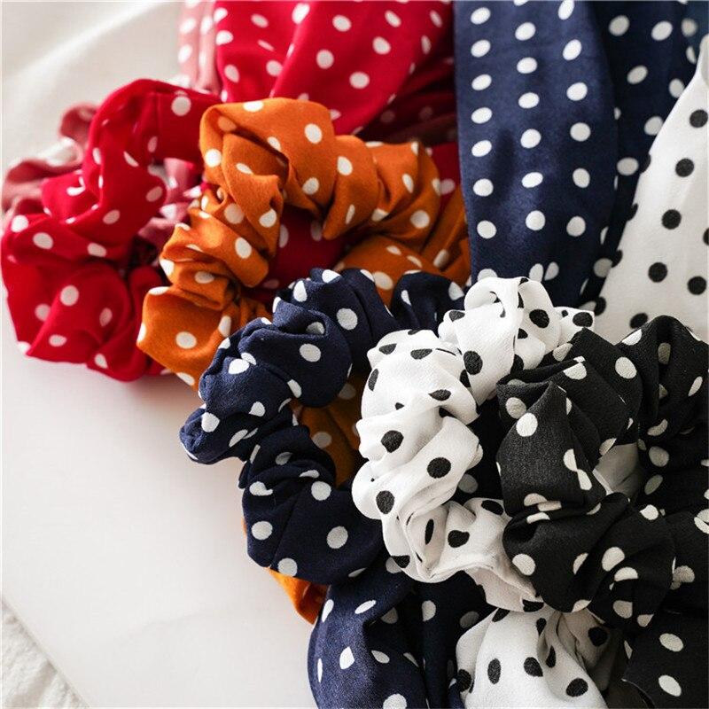 Ruoshui Dot cheveux ruban noeud cheveux cravates chouchous femme mode cheveux anneaux élastique mode cheveux accessoires cheveux corde gomme 3