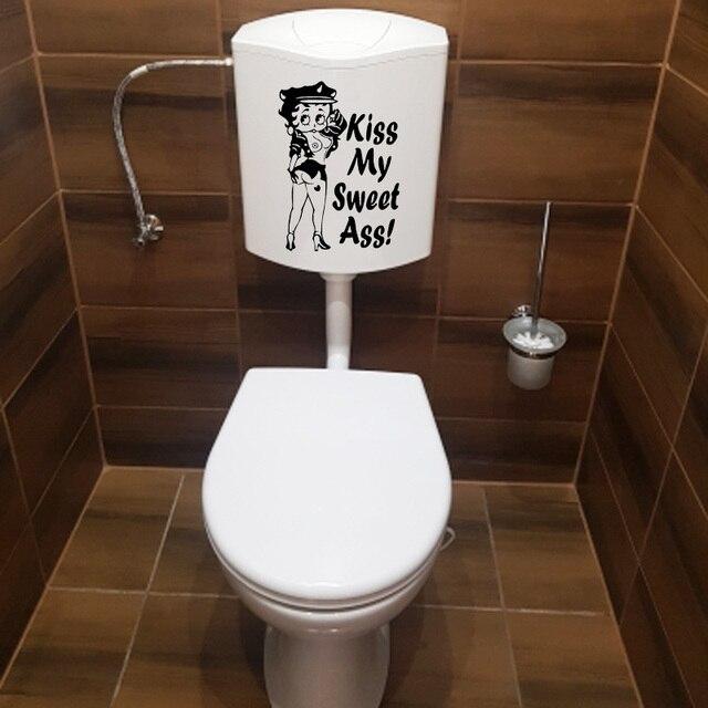 Сексуальная Бетти Буп KISS MY SWEET ASS забавная Наклейка на стену туалетные аксессуары для ванной 4WS0099