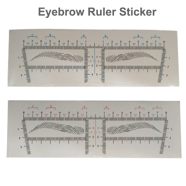 25pcs Eyebrow Stencil Sticker Professional Permanent Make up Supplies Disposable Eye brow Shaper Ruler Template Measure Tools