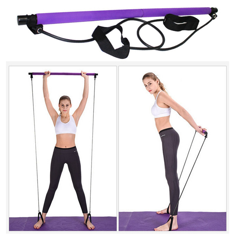Portable Yoga Pilates Bar Stick With Resistance Band Home Gym Muscle Toning Bar Fitness Sports Total Body Workout Exercise
