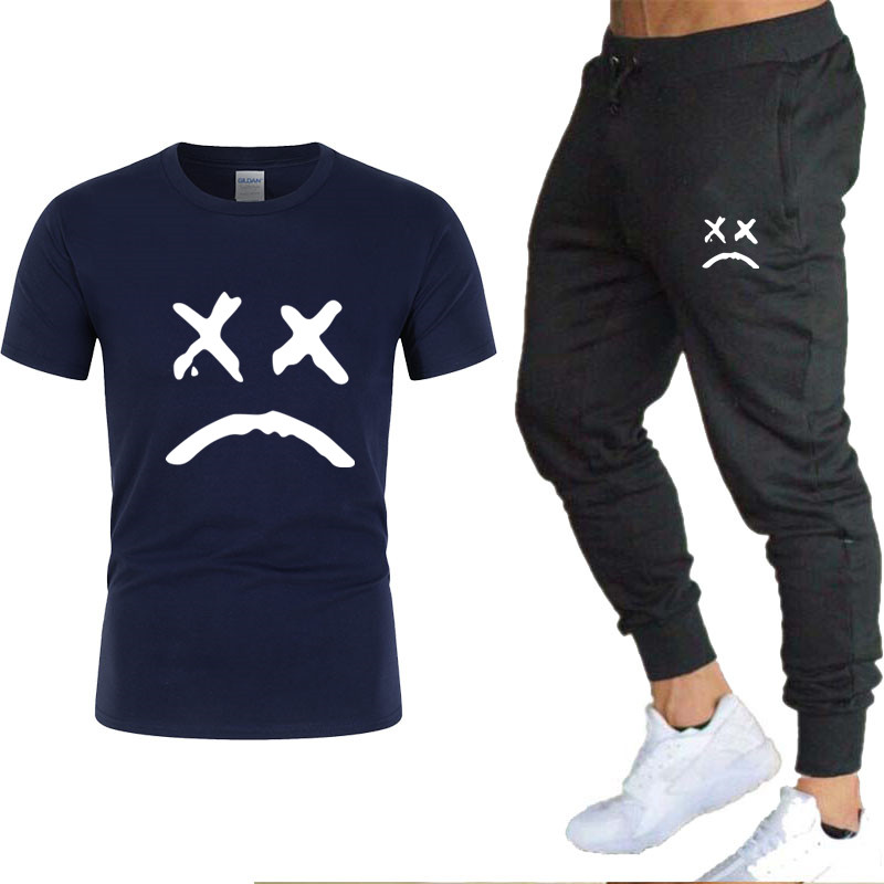 Mens Track Suit Set Summer Outfits Two Piece Set Male T-shirt Pants Training Tracksuit Mens Leisure Fitness Joggers Sportswear