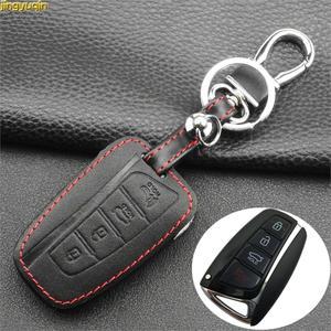 Image 1 - Jingyuqin 4 кнопки кожаный чехол для ключей автомобиля для 2013 2014 2015 HYUNDAI SANTA FE IX45 GENESIS EQUUS AZERA Автоаксессуары без ключа