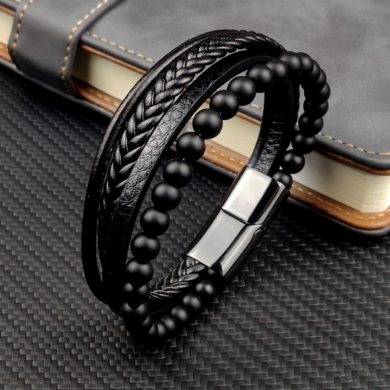 MingAo Fine Stainless Steel Jewelry Multi-Layered Men's Black Leather Beaded Bracelet High Quality Magnet Clasp Christmas Gift
