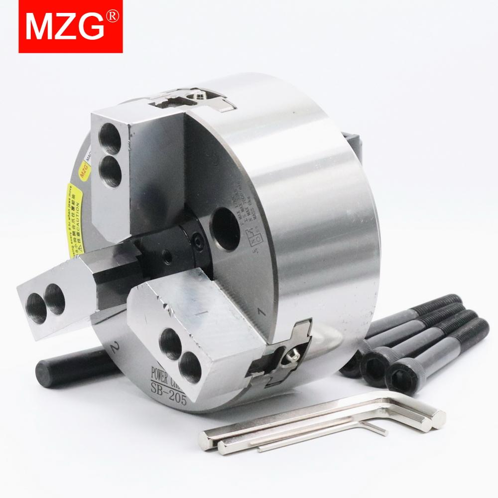 MZG SB-206 4 5 6 8  inch 3 Jaw Hollow Power Chuck for CNC Lathe Boring Cutting Tool Holder Hole Machining