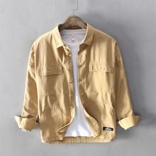 Autumn Japanese Style Fashion Men Shirts High Quality Safari Multi Pockets Cargo Uniform Long Sleeve Casual