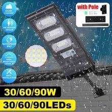 Lámpara de pared con Sensor de movimiento, farola Solar LED de seguridad con poste impermeable para exteriores, jardín, Plaza, patio, 30W/60W/90W