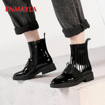 ENMAYLA 2019 Winter Boots Women Sexy Motorcycle Boots Patent Leather High Heel Boots Round Toe Elastic Band  Women Shoes 34-42