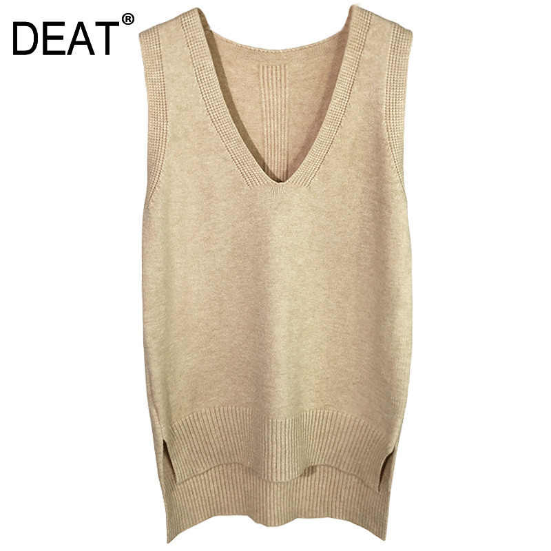 DEAT 2020 New Women Clothes Autumn And Winter Fashion V-neck Sleeveless Knitting Vest Female Short Outfit Sweater WB64505