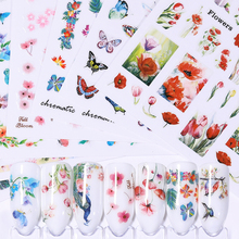 1 Sheet  Flowder Butterfly Nail Art Stickers Colorful Tropical Nail Transfer Water Decals Stickers Manicure Nail Art Decoration стоимость