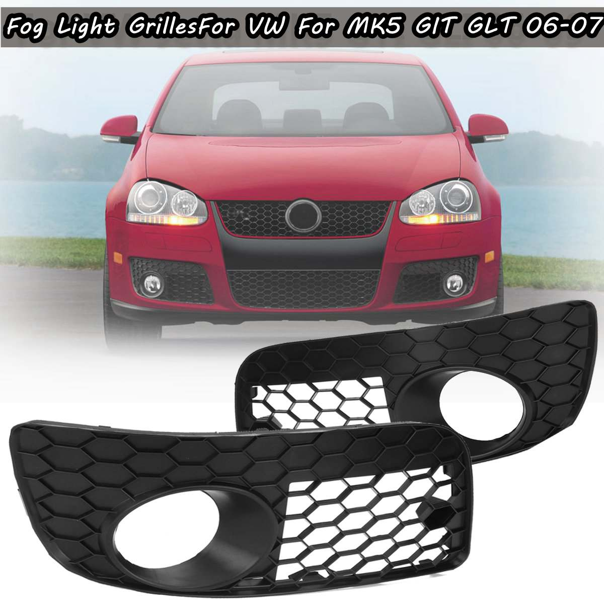 Pair Honeycomb Hex Mesh Fog Light Open Vent Grilles For Volkswagen For VW For Jetta MK5 GTI GLI 2006-2009 Car Accesorios
