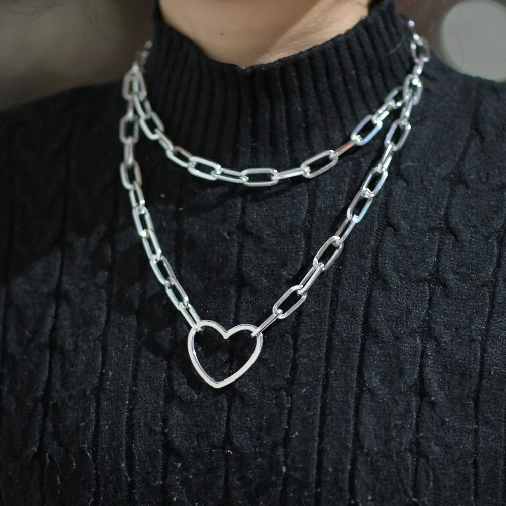Big heart Long chain choker collar necklace harajuku punk choker women girls emo kawaii Necklace jewelry hip hop accessories