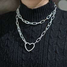 Big heart Long chain choker collar necklace harajuku punk choker women girls emo kawaii Necklace jewelry hip hop accessories(China)