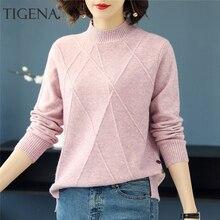TIGENA hermoso suéter de cuello alto rosa para mujer 2019 Otoño Invierno de manga larga Jersey suéter de punto para mujer