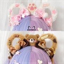Ручной работы японский сладкий Лолита плюшевый медведь ушки с бантом повязка для волос аксессуары для волос Kawaii Девушка корейский Косплей ободок для головы обруч для волос