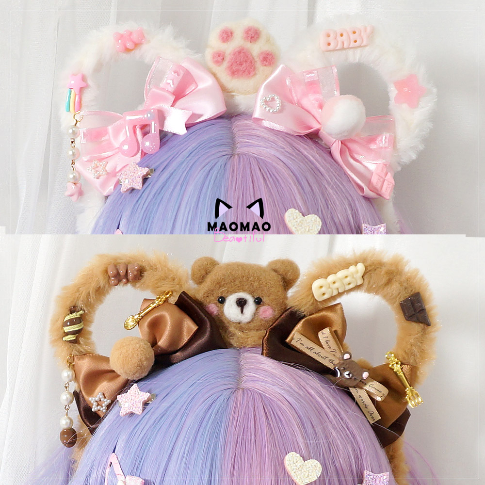 Handmade Japanese Sweet Lolita Plush Bear Ears Bow Hair Band Hair Accessories Kawaii Girl Korean Cosplay KC Headband Hair Hoop